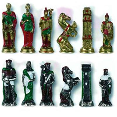 Painted Hannibal Roman Chess Pieces