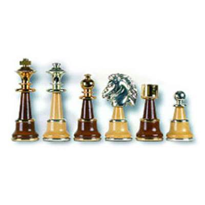 Champion Brass-Wood Chess Pieces