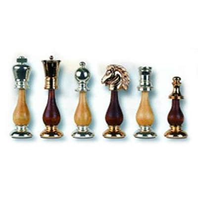 Gold Brass-Wood Chess Pieces