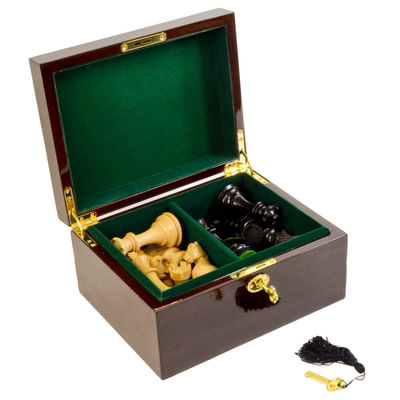 Dark Brown Wood Chess Box