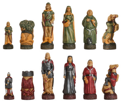 Robin Hood Hand Decorated Chess Pieces by Studio Anne Carlton